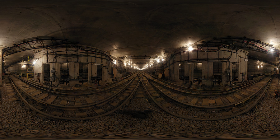 Spherical panorama of metro tunnel construction